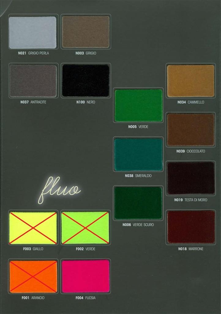 Палитра цветов флока итальянской компании Сasati для бархатных плечиков